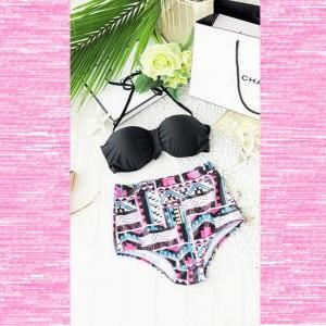 Aztec High Waist Bikini-Retro Swims..
