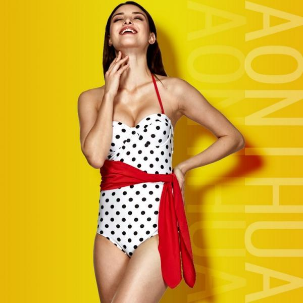 Black Polka Dot & White one piece swimsuit,retro swimsuit with redbelt,hot swimwear,push up monokini,vintage bathing suit